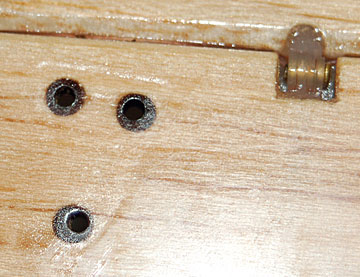 "3/16"" dowel hard points in the elevator to prevent the control horn from crushing the balsa."