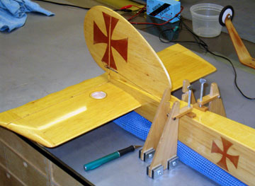 A couple of hold downs secure the fuselage so it can't move while using a router on the stabilizer.