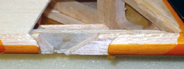 A portion of the sub-leading edge is removed to make it easier to splice in a new piece.